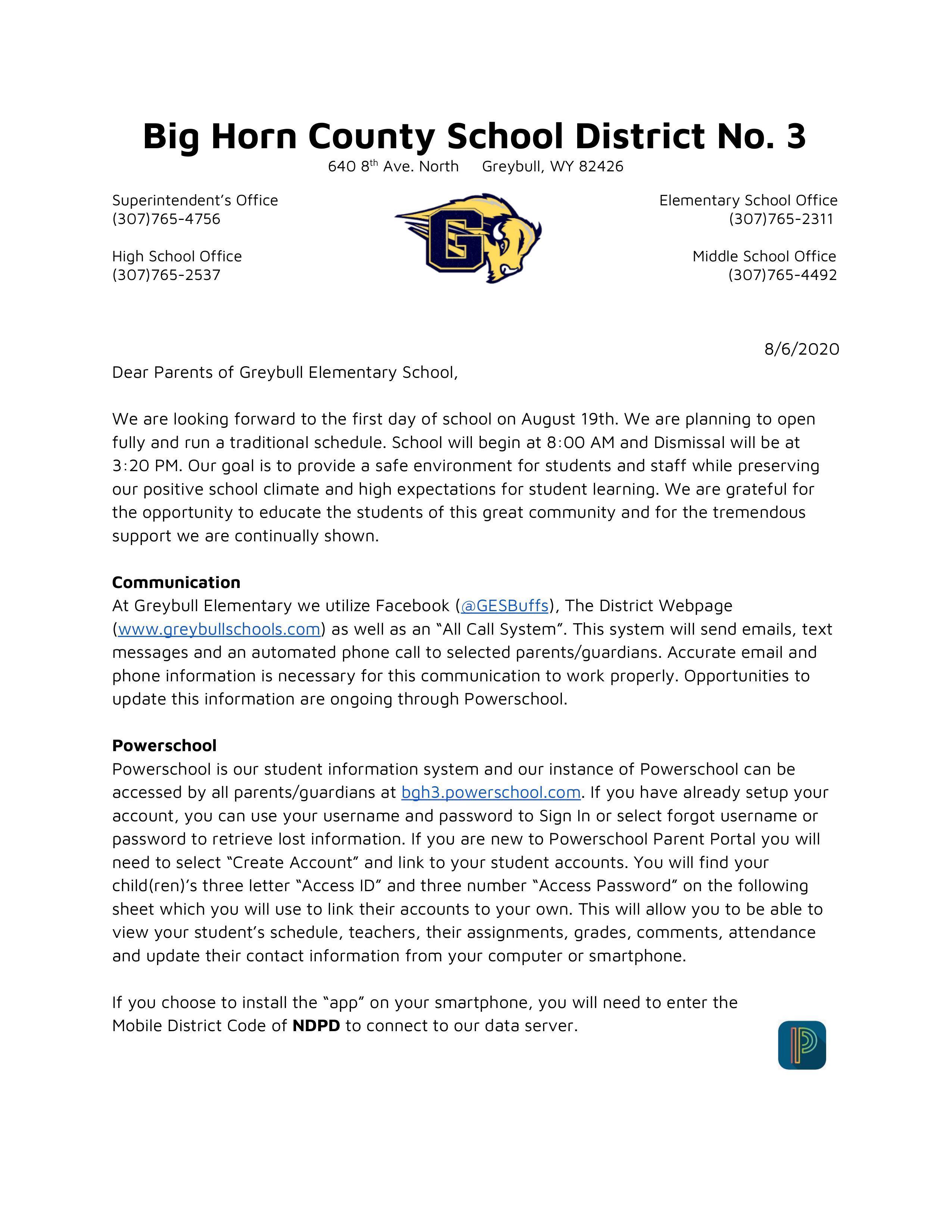 Parent Letter Page 1