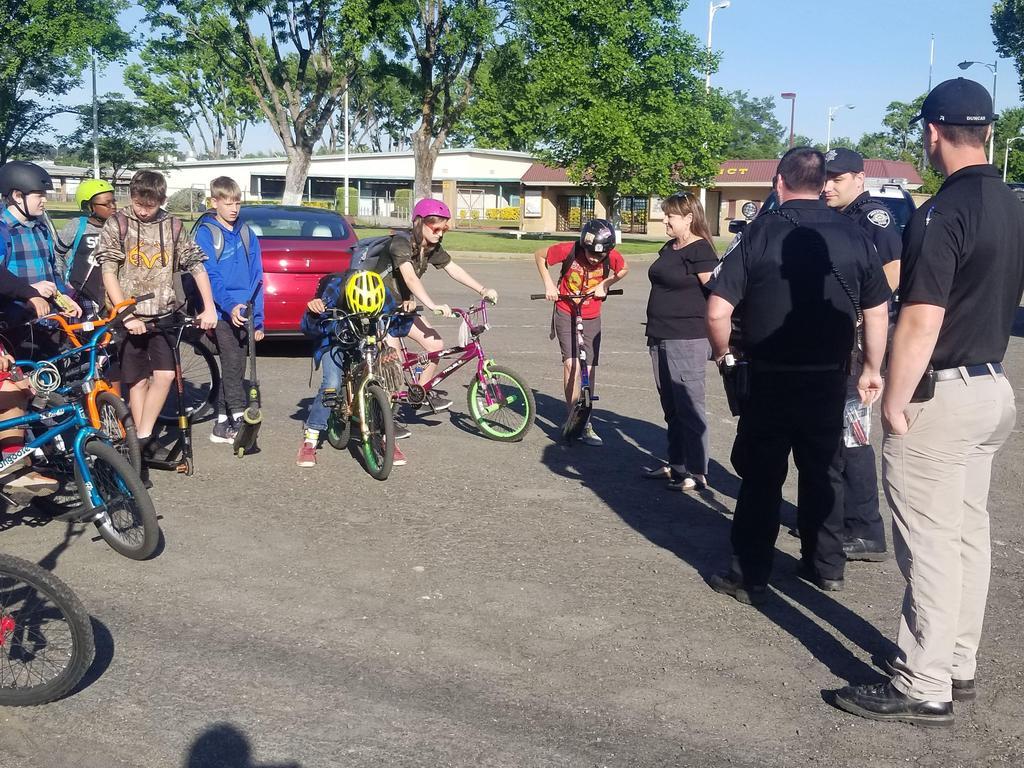 Students on their bikes