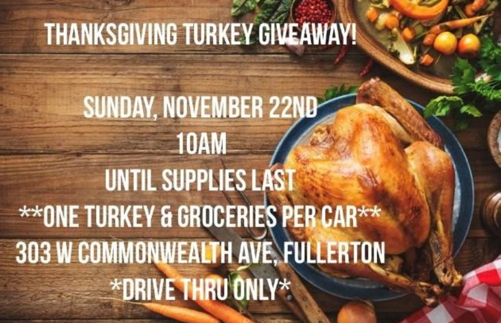 Picture has details for a turkey dinner giveaway.