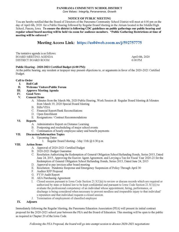 Updated 04-06-2020 School Board Agenda/Notice of Public Meeting - Zoom Link for Audience Members Featured Photo