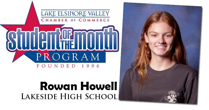Rowan Howell, Lakeside HS, Student of the Month, October, 2020.