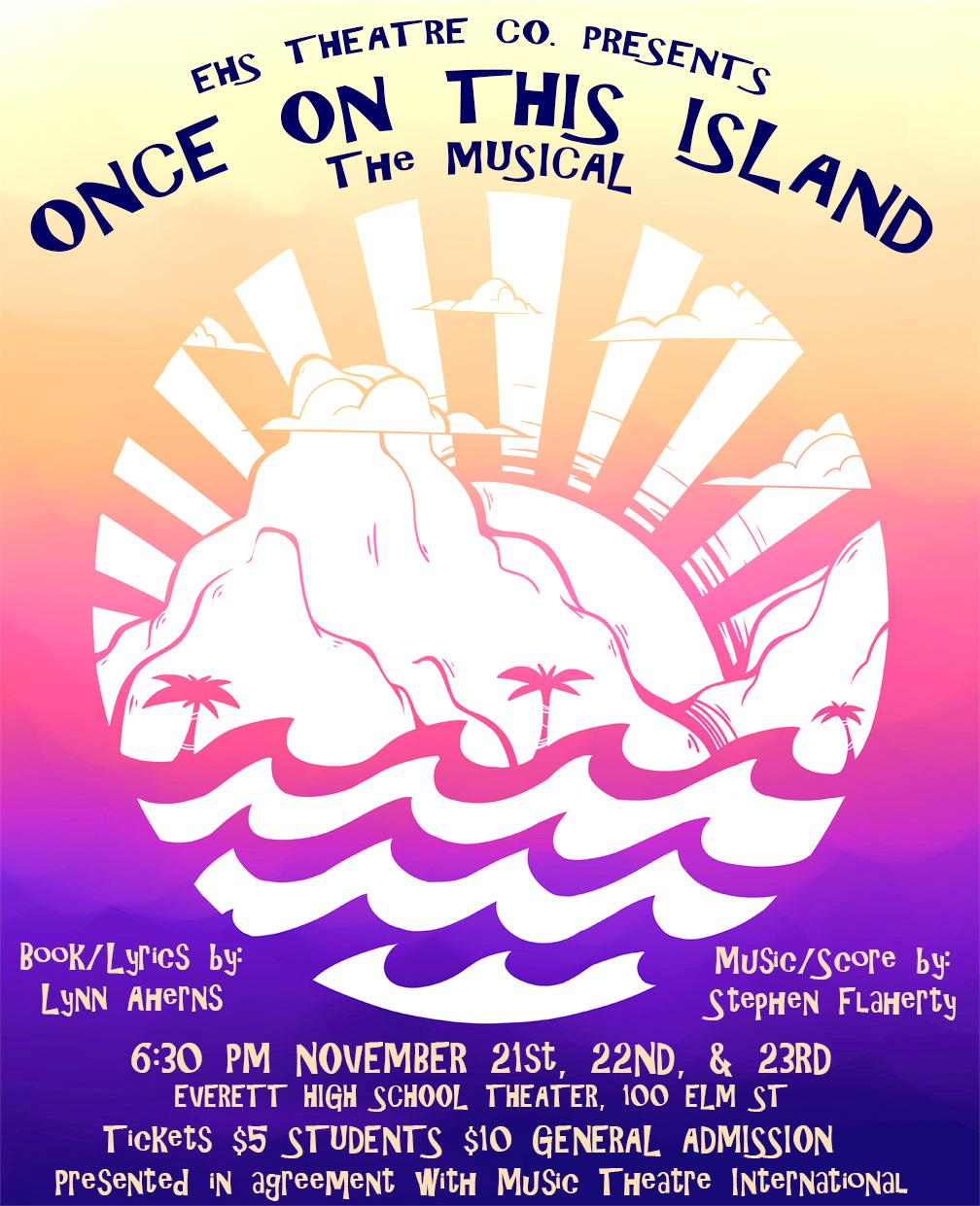 Poster promoting the musical 'Once On This Island,' designed by EHS student Mariah Silva