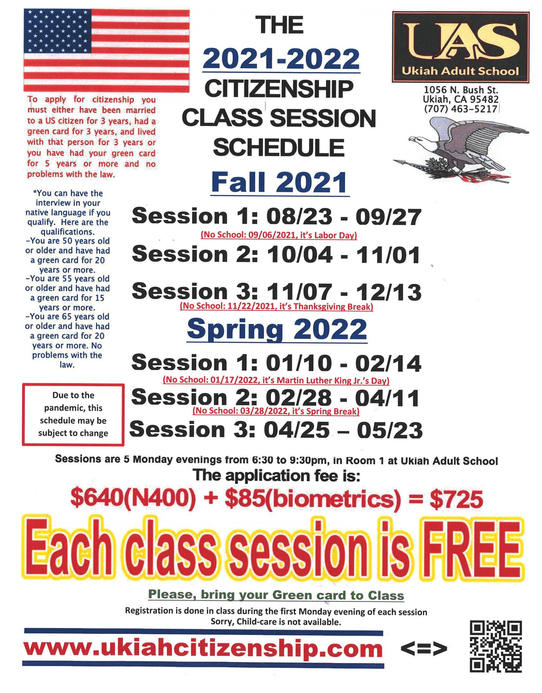 2021-2022 Citizenship Class Session Schedule poster.  The first session will start August 23, 2021 and end September 2, 2021.