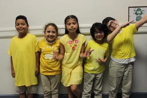 yellow superhero team students