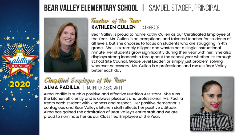 Bear Valley Elementary Employees of the Year