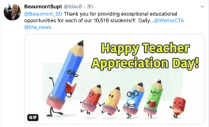Twitter post from Superintendent Davis thanking teachers for teacher appreciation day