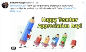 Twitter post from Superintendent Davis thanking teachers for teacher appreciation day