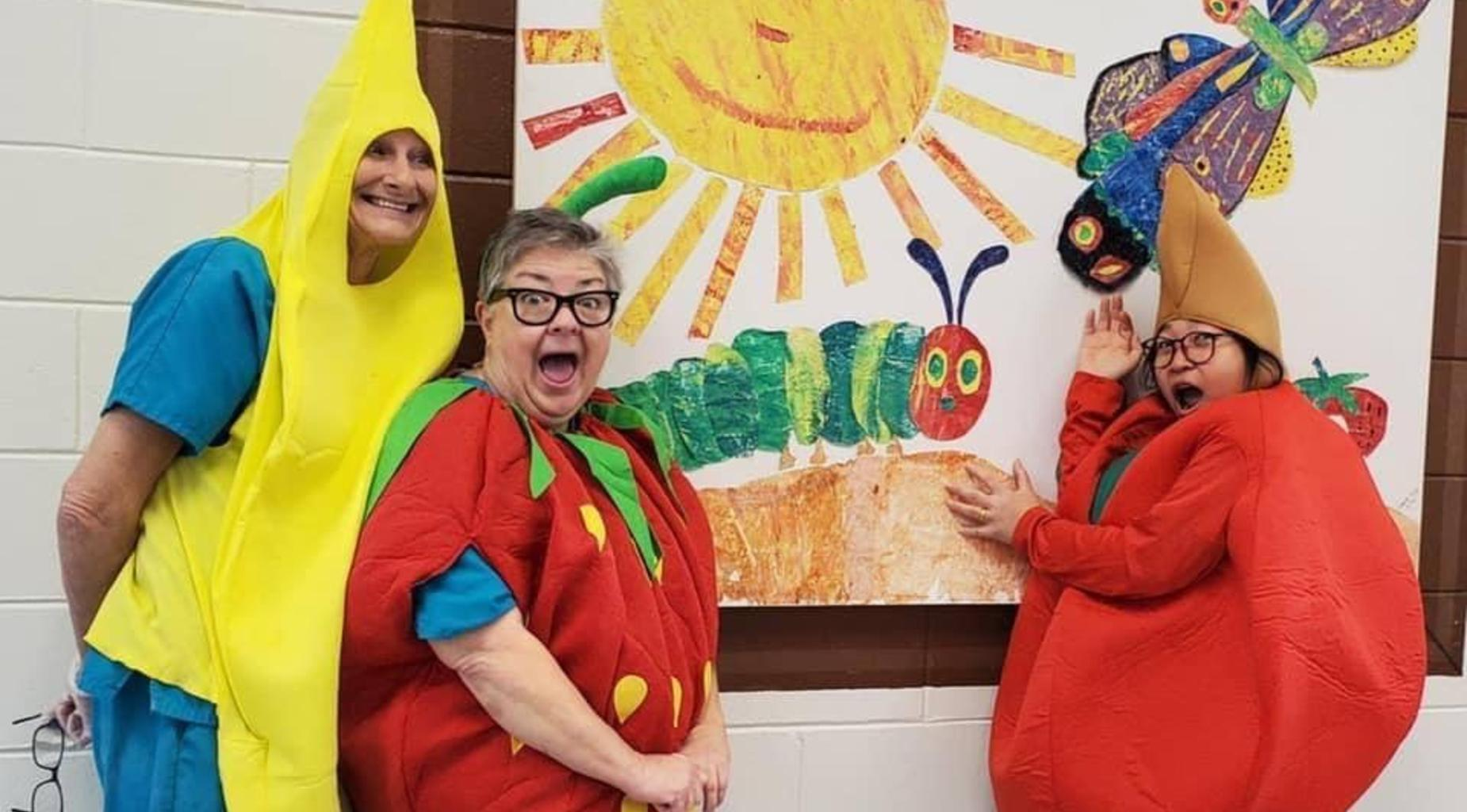 Food service employees pose for Lunch Hero Day.