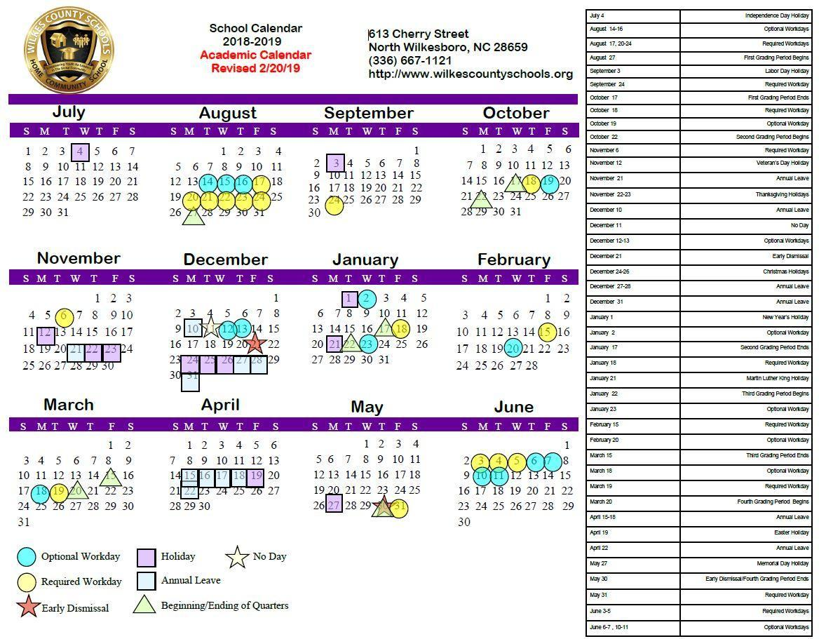 2018-19 Board-Approved Academic Calendar (Revised 2/20/19)