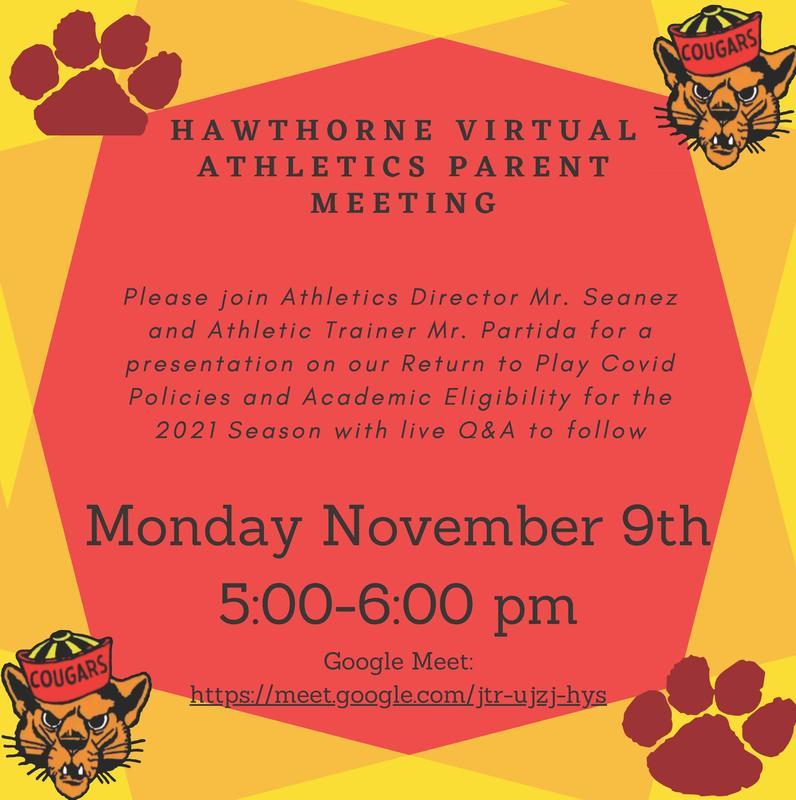 11/19/2020 - Virtual Athletics Parent Meeting Featured Photo