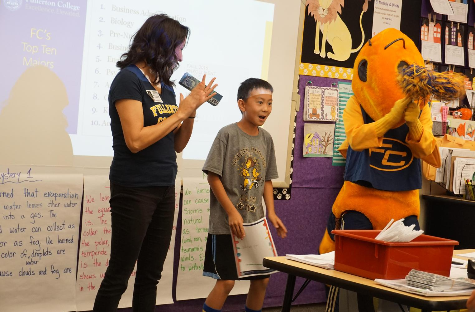 Buzzy the Hornet mascot visiting a classroom