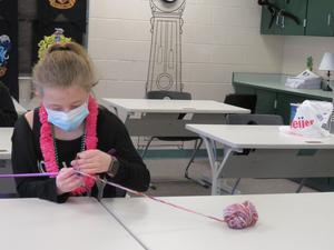 Some students spent time knitting.