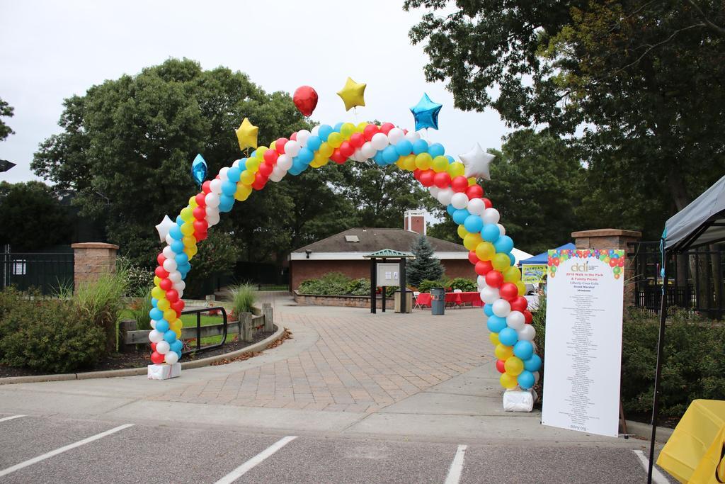 DDI Walk sponsor board and balloon arch