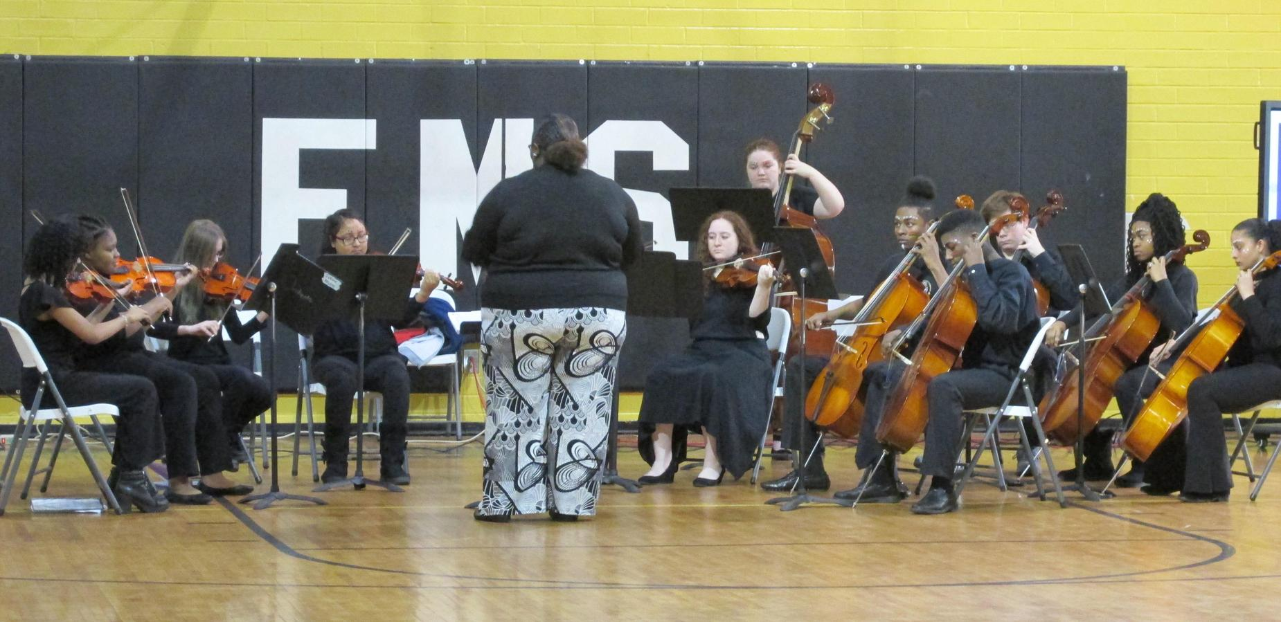 Ms. Wise's Orchestra student performing at the Black History Program