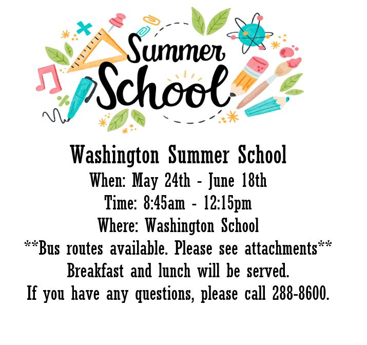 Washington School Summer School Information Featured Photo