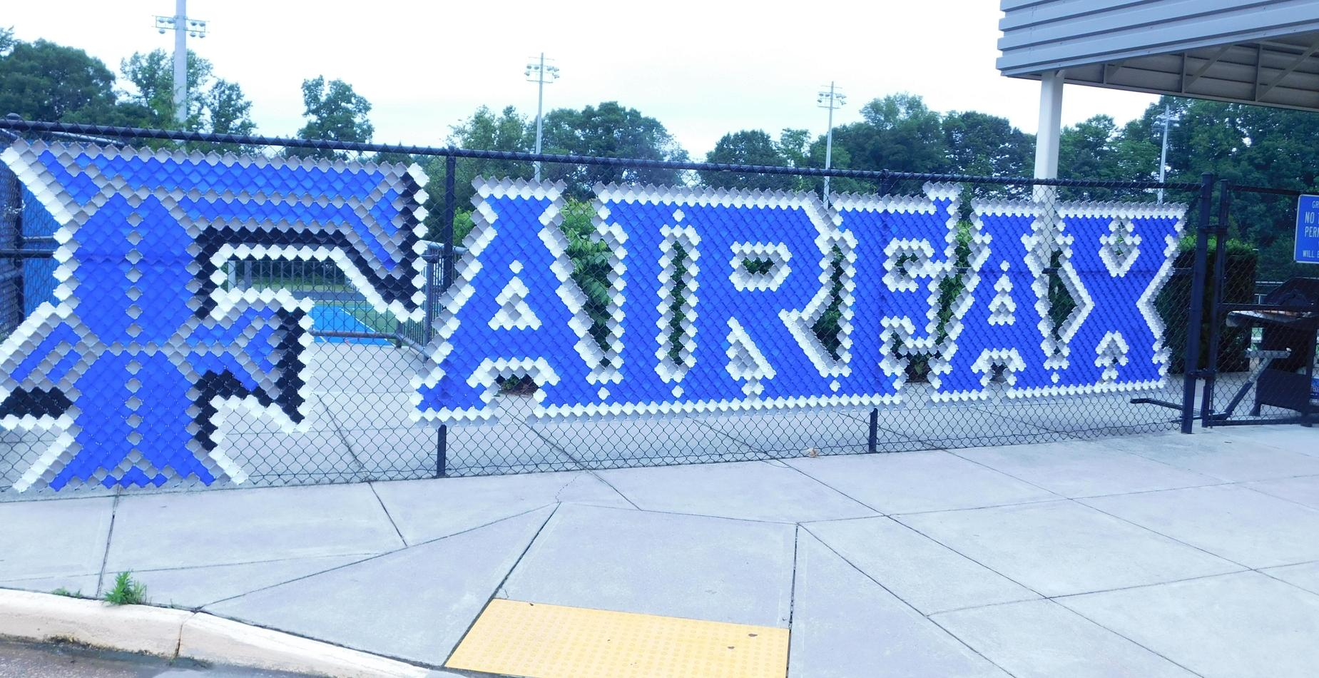 picture of cups spelling out Fairfax at the high school