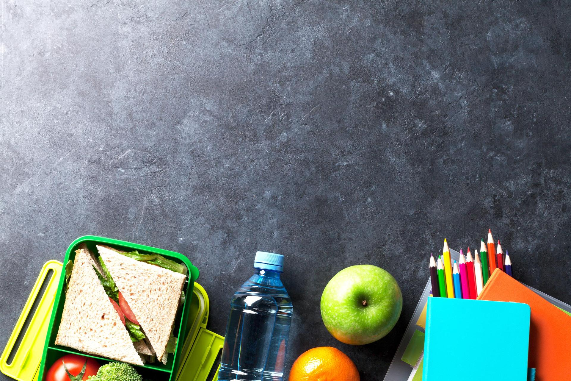 Food against a blackboard background
