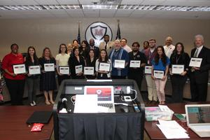Manor ISD Board of Trustees, Superintendent with March Teachers of the Month