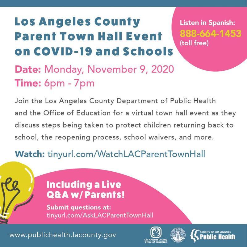 Los Angeles County Parent Town Hall Event on COVID-19 and Schools / Condado de Los Ángeles reunión de Padres sobre las escuelas y COVID-19 Featured Photo