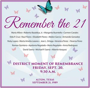 graphic showing the names of the 21 students from the Alton bus crash