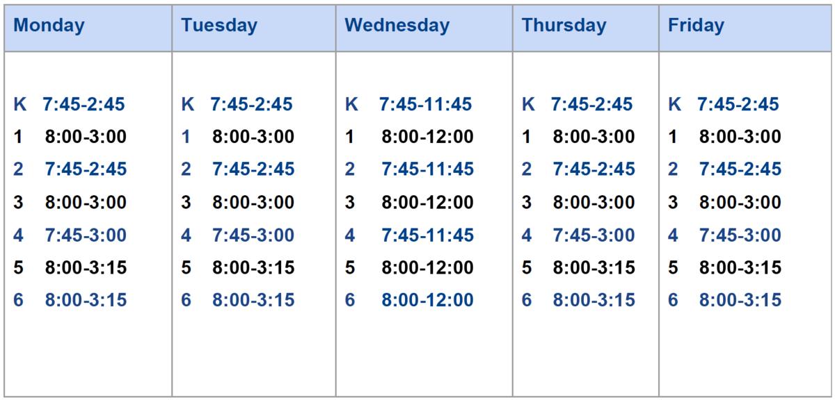 K-6 Schedule