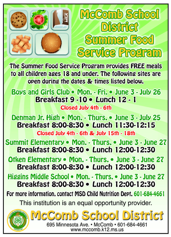 McComb School District Summer Food Service Program