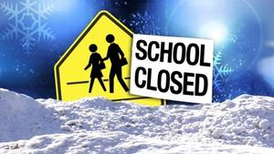 School closed sign due to weather