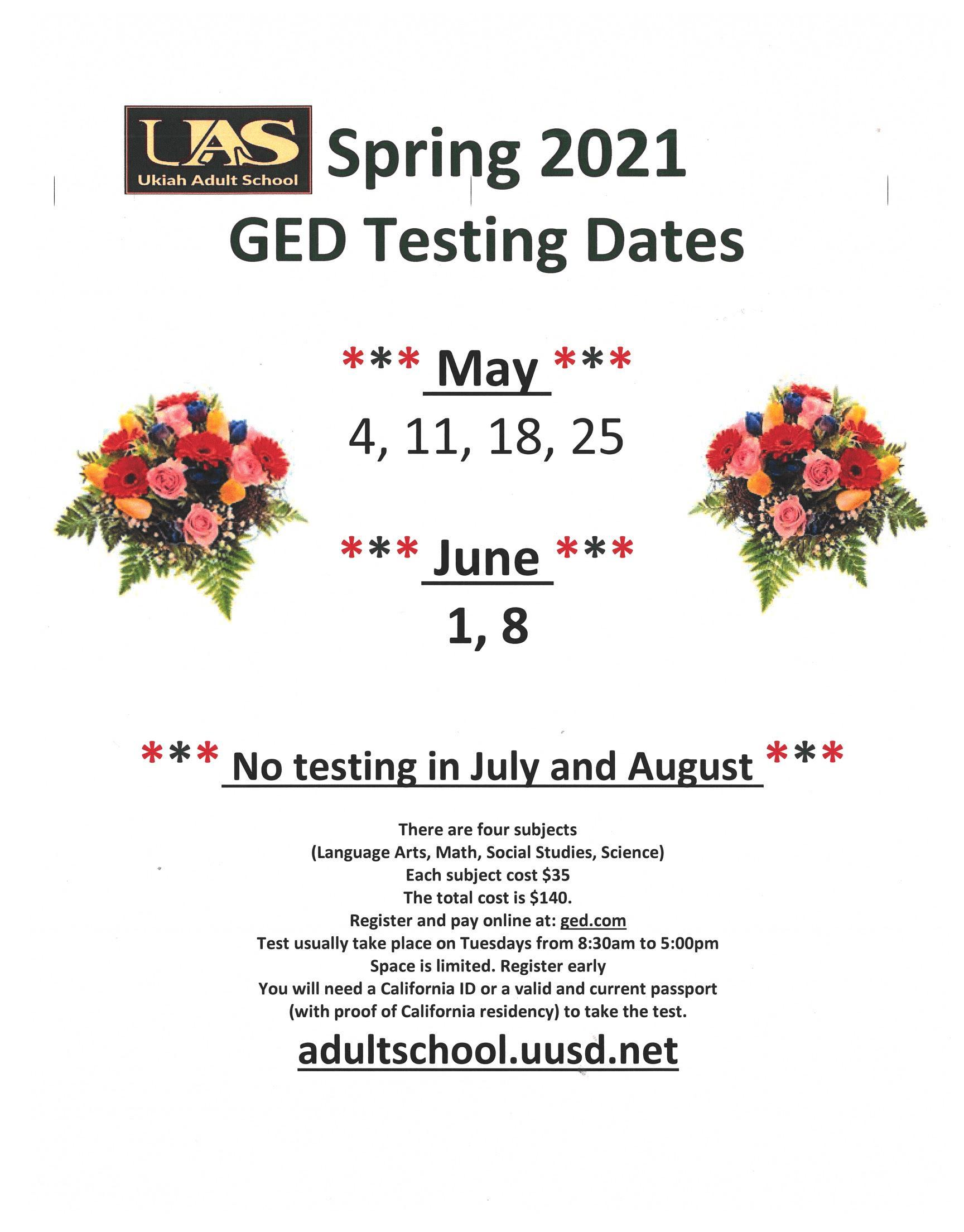 May & June GED Test Dates Poster