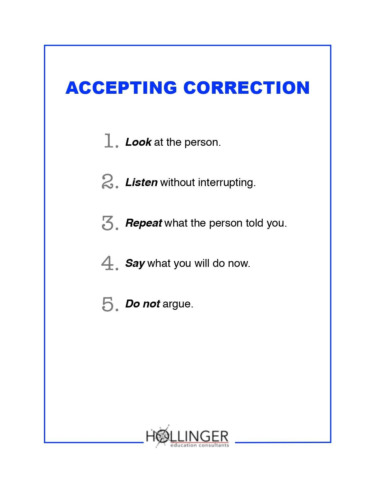 Project RESSPECT: Accepting Correction