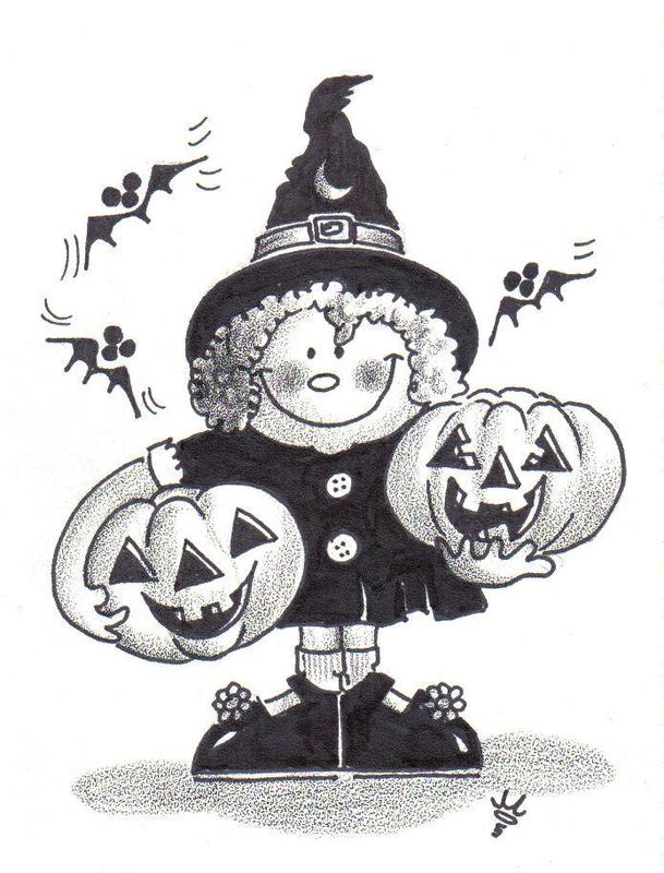 cartoon witch holding jack-o-lanterns