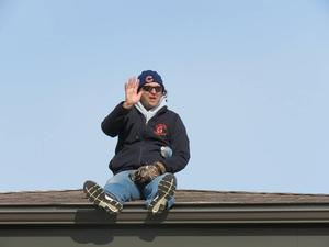 Page Principal Mike Gelmi camped out on the roof of the school for one reading month celebration.