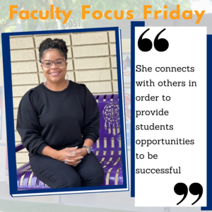A picture of LuRece Springer sitting on a bench with the Faculty Focus Friday boarder around her.