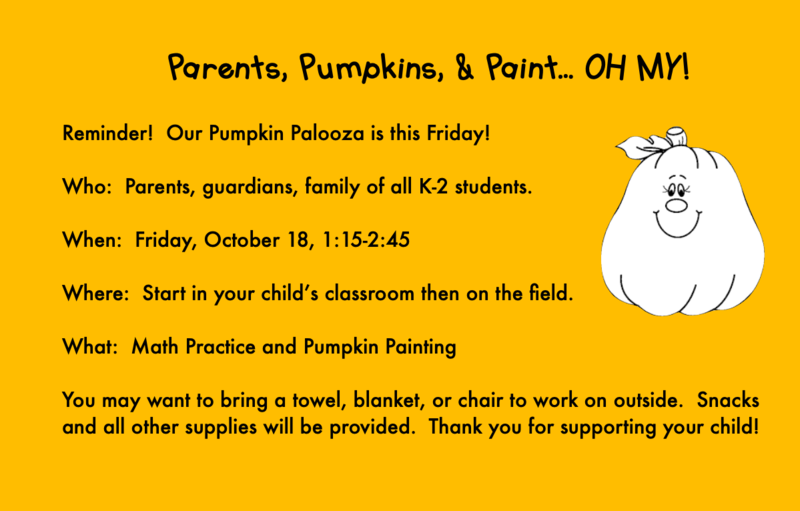 K-2 Pumpkin Palooza - Oct. 18th Featured Photo