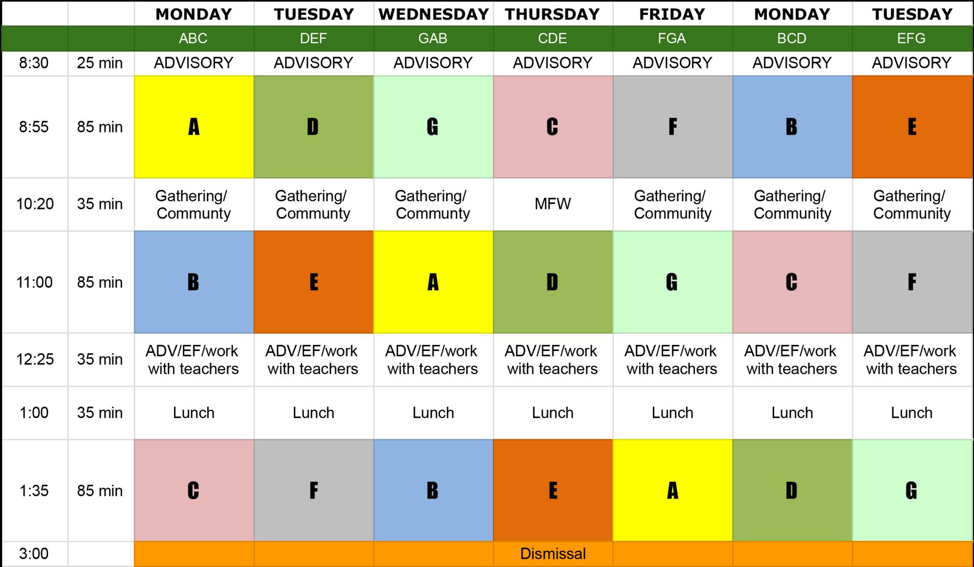 DVFriends Upper School Schedule