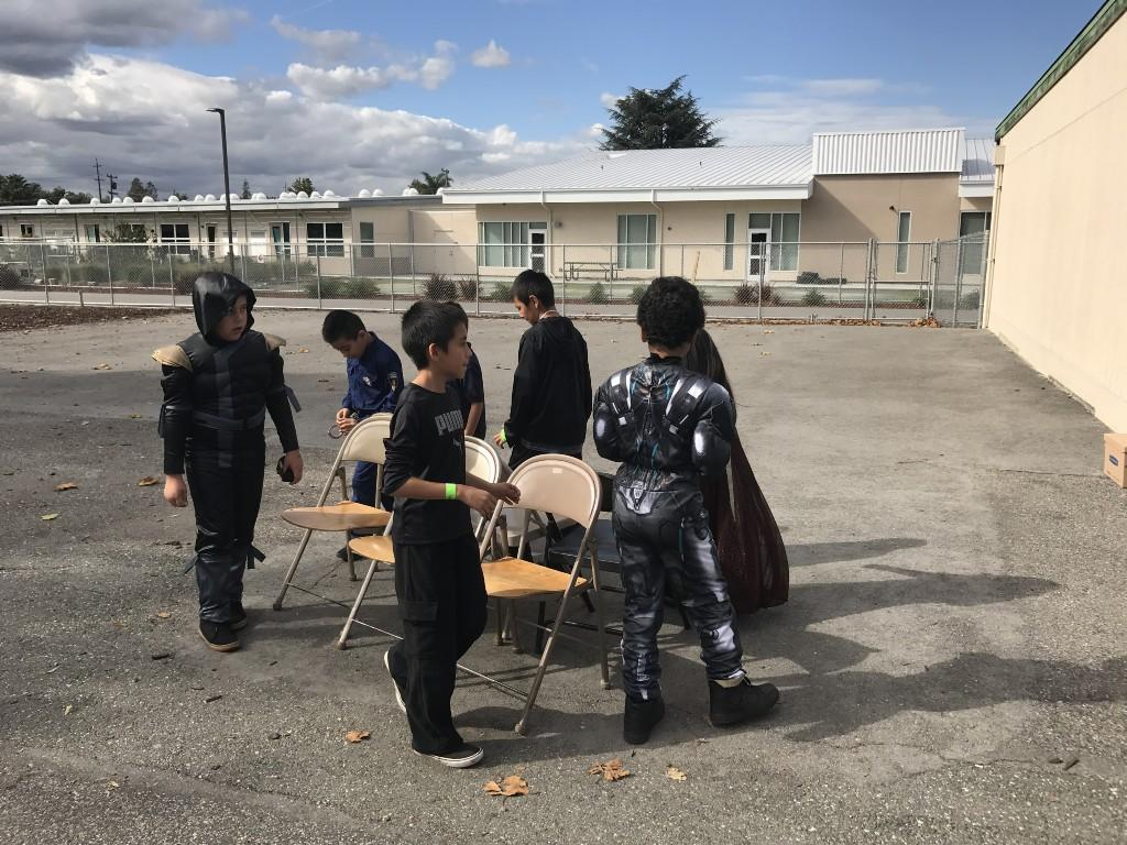 Students playing musical chairs