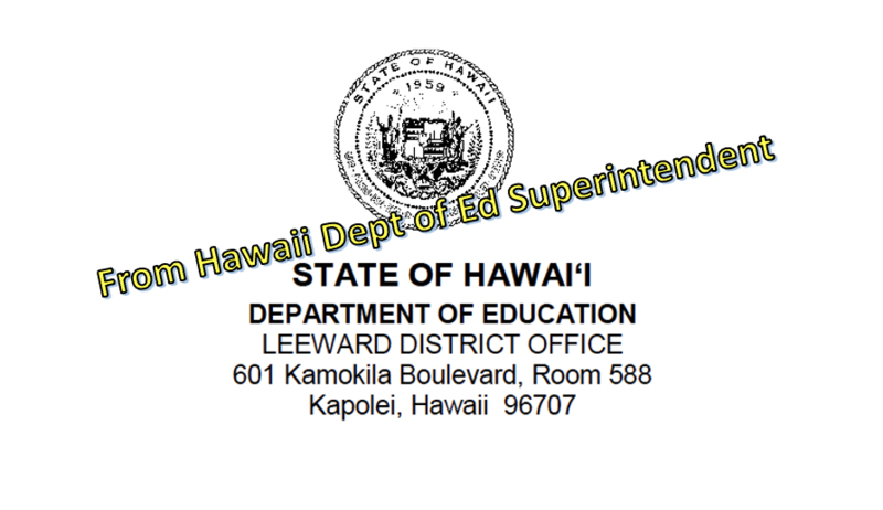 From the HIDOE Superintendent