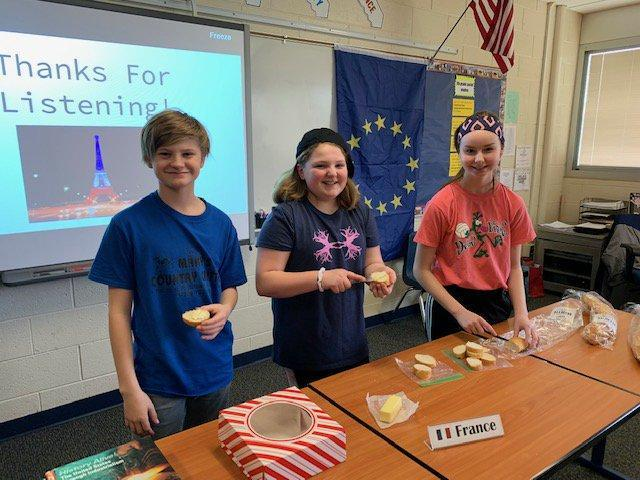 Students presenting their country