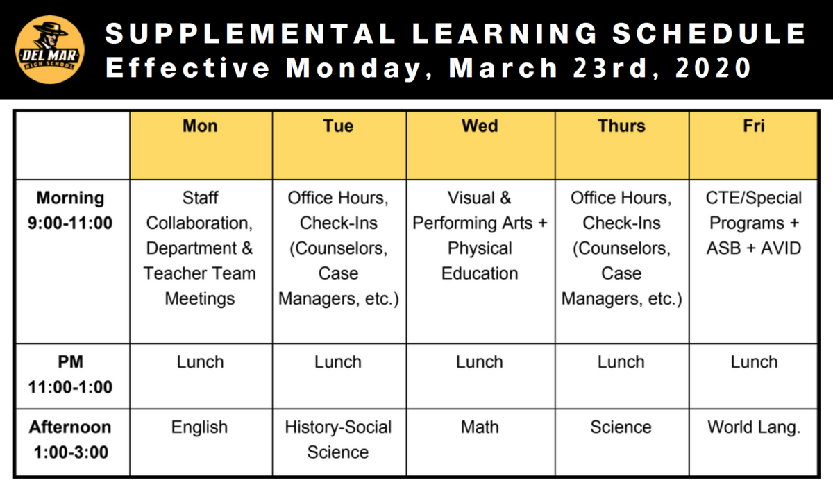 image of student supplemental learning schedule as of march 19, 2020