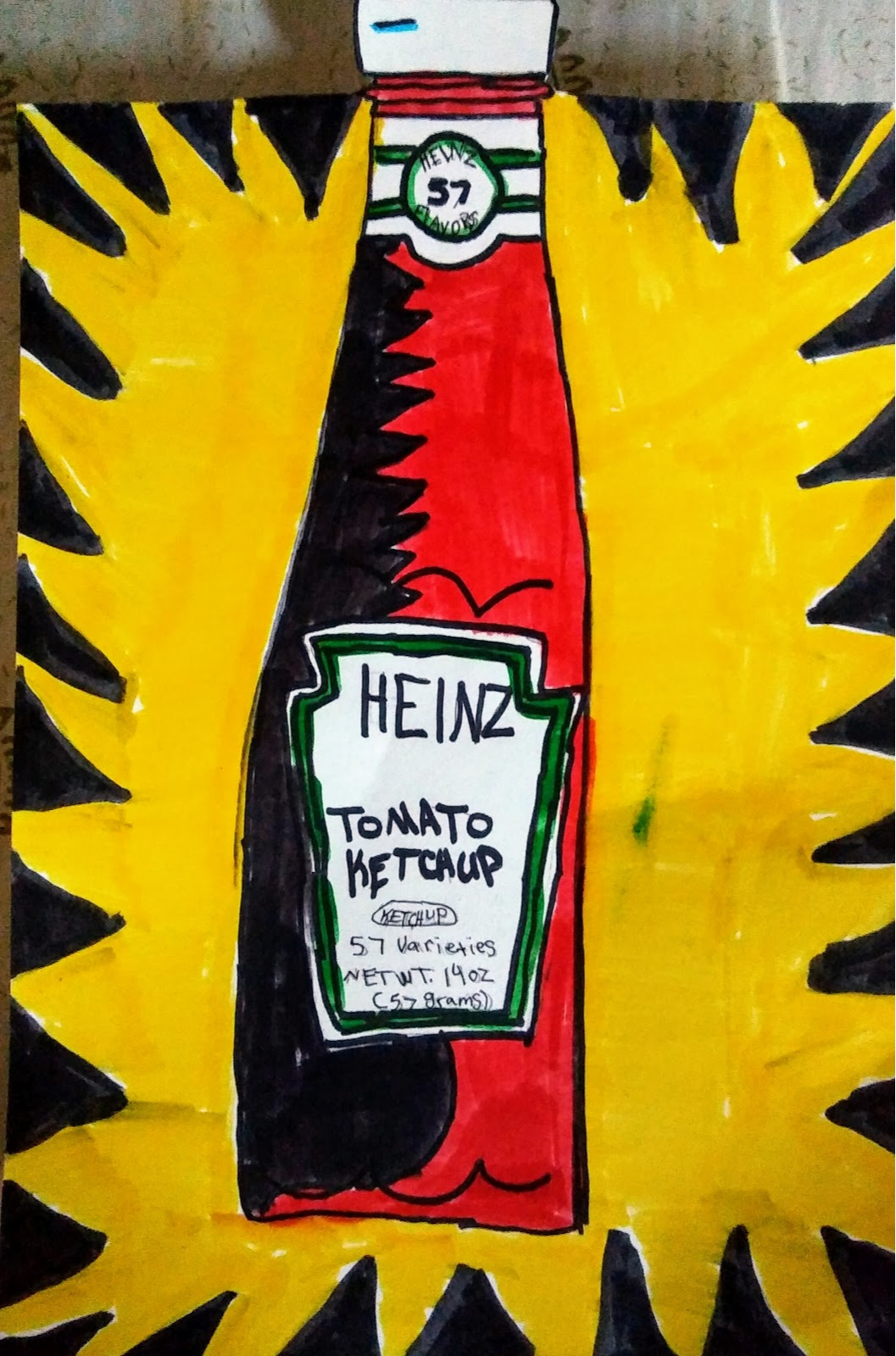 Student Drawing of Ketchup Bottle