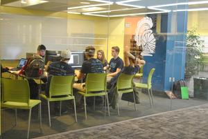 Picture of kids working in collaboration room