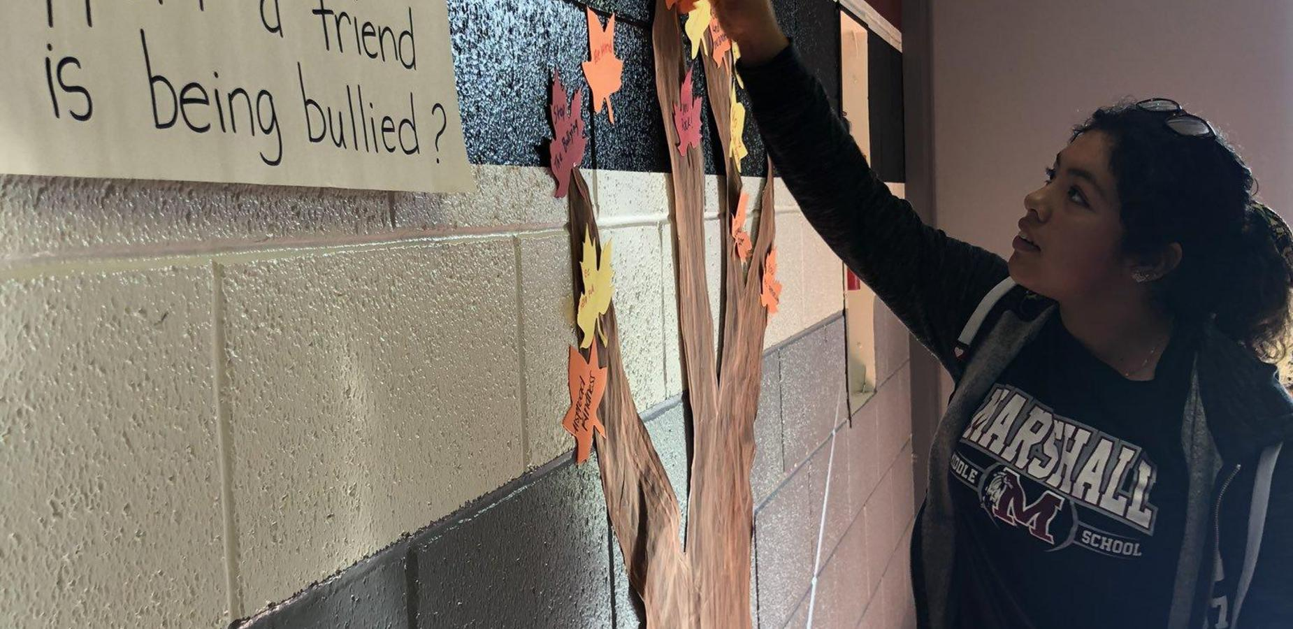 Unity Tree - Marshall Middle School students had the opportunity to create a leaf with positive messages and advice to stand up against bullying for our unity tree! #AntiBullyingWeek #asca #schoolcounseling #ChooseKindness #proud2be http://edl.io/n1125486