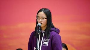 Photograph of student Megan Lin at Spelling Bee.