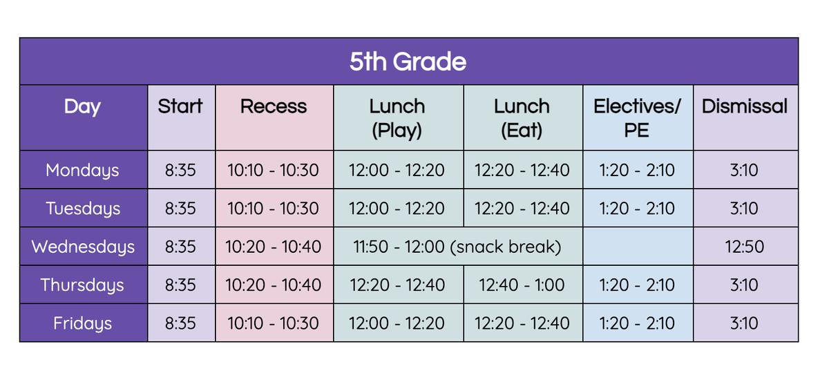 5th grade bell schedule