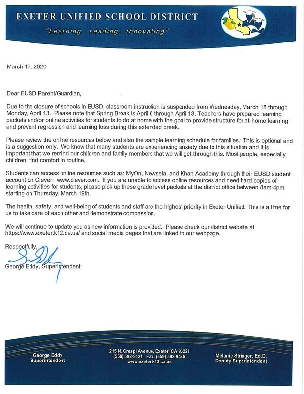 EUSD Superintendent's Open Letter to Parents