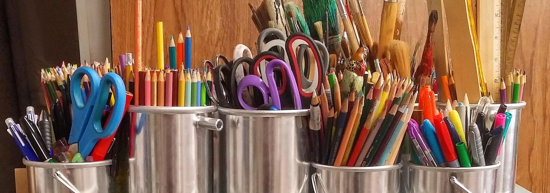 Stock photo with pencils and pens