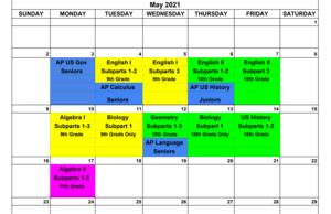 2021 Testing schedule