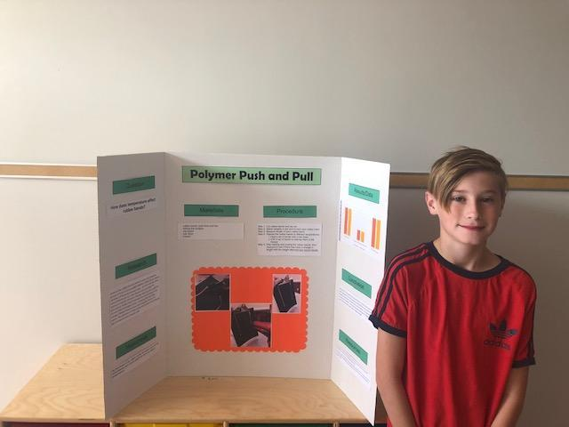 boy standing with poster