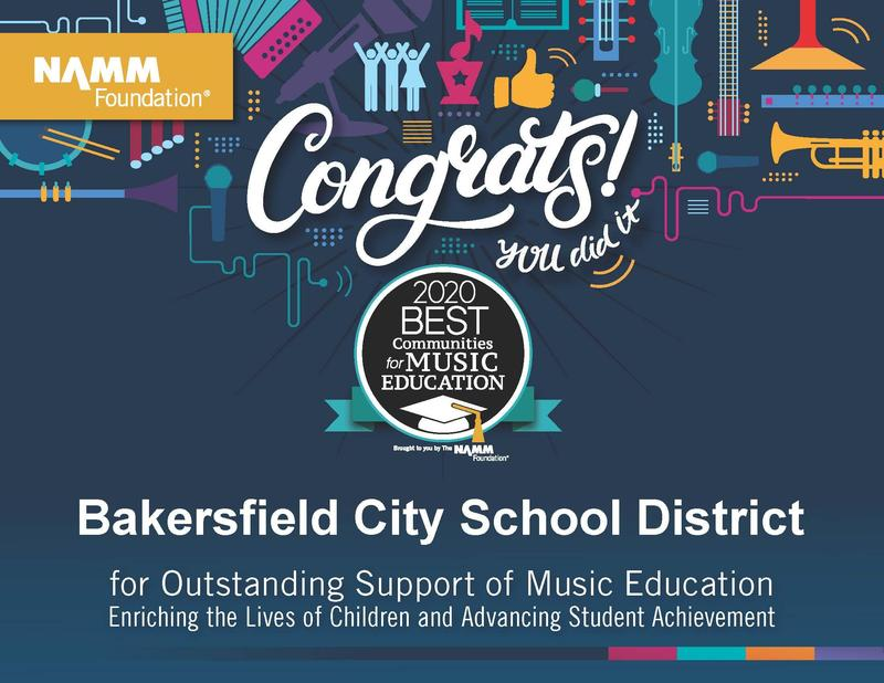 Bakersfield City School District Visual and Performing Arts Department Receives National Recognition Featured Photo