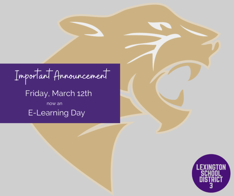 Friday, March 12th Will Be An E-Learning Day in Lexington Three