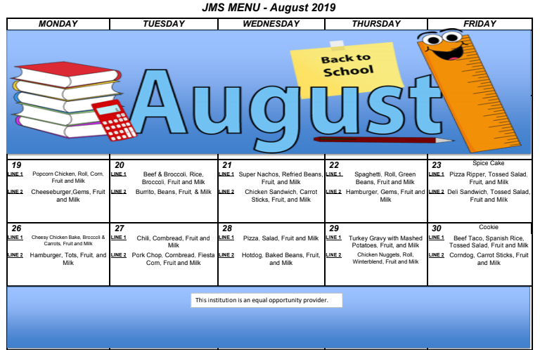 august menu